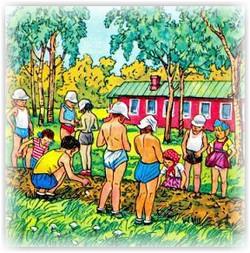 дети на свежем воздухе работают на приусадебном участке